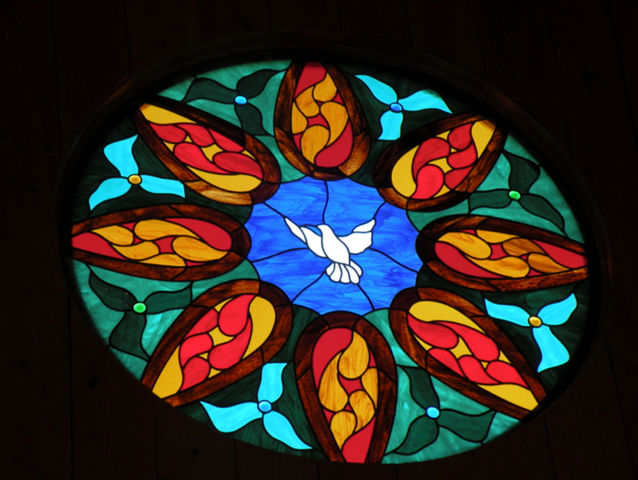 Stained Glass Window of Dove