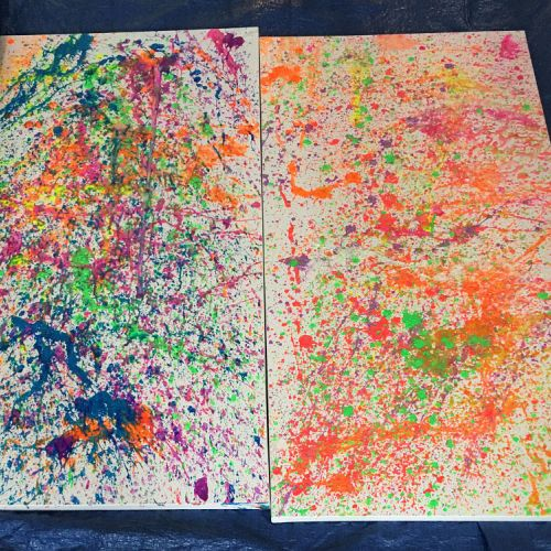 Couple Giving And Receiving Love Through Splatter Painting